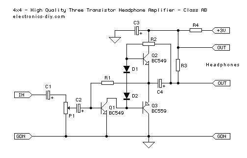 Three Transistor Headphone Amplifier - Class AB