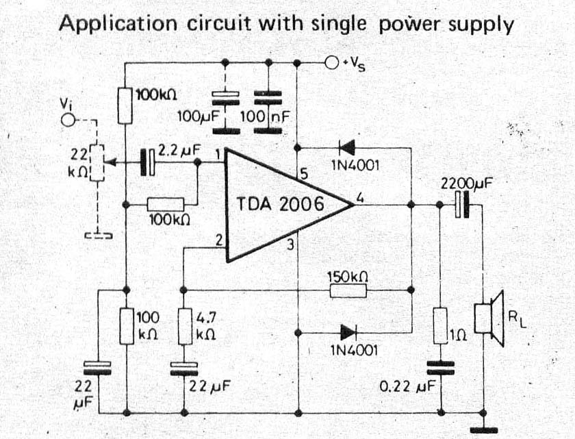 The Circuit TDA2006 Amplifier