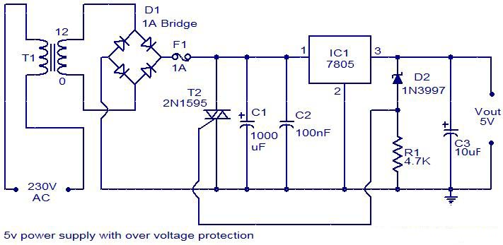 5V Power Supply With Overvoltage Protection.