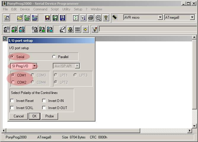 После установки, первое, что предстоит сделать, это сконфигурировать PonyProg для работы с AVR программатором.