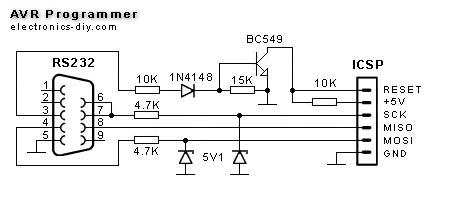 Схема простого программатора AVR.